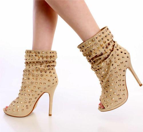 Liliana Studded Slouchy Beige Peep Toe Bootie Stiletto Heel Size 7.5