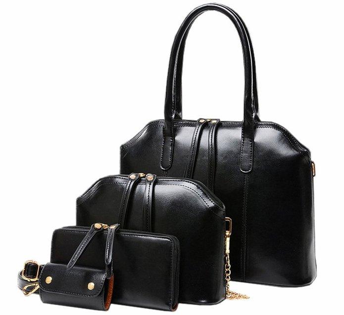 4 Pieces Women's Lot Simple Design Purse Leatherette Shoulder Handbags Clutches