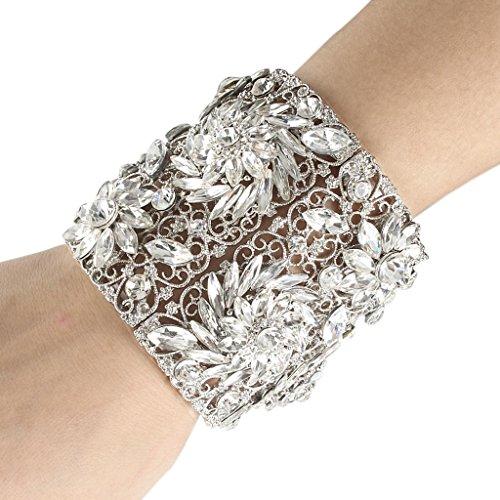 EVER FAITH Spring Flower Stretch Wide Bracelet Clear Austrian Crystal