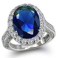 Bling Jewelry 925 Silver Vintage Oval CZ Royal Sapphire Color Engagement Ring