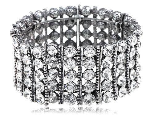 Chunky Statement Silvery Shiny Crystal Rhinestone Bracelet Bangle Cuff