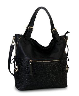 Diophy Bubble Surface Double Side Zippers Hobo Handbag