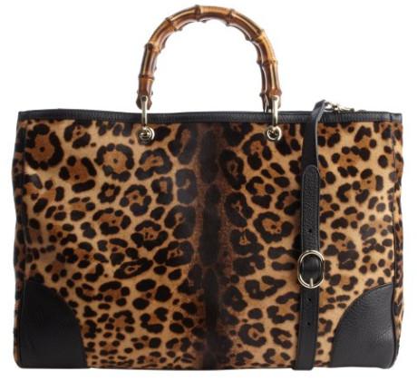 Gucci Bamboo Shopper Jaguar Leopard Print Tote