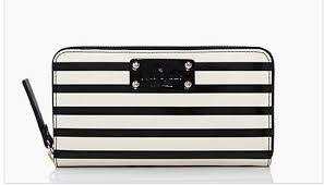 KATE SPADE NEDA Wellesley Patent Black & Cream Stripe