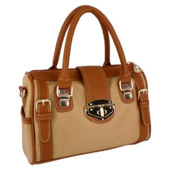 MG Collection BRADLEY Dual Tone Brown Bowling Style Satchel Handbag