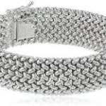 Sterling Silver Italian Rhodium-Plated Bombay Mesh Bracelet