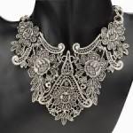 Vintage Silver Plated Flower Hollow Statement Bib Choker Chain Pendant Necklace