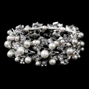 Bridal Wedding Jewelry Crystal Rhinestone Pearl Leaf Stretch Bracelet Silver