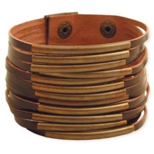 Brown Leather & Bar Cuff Bracelet