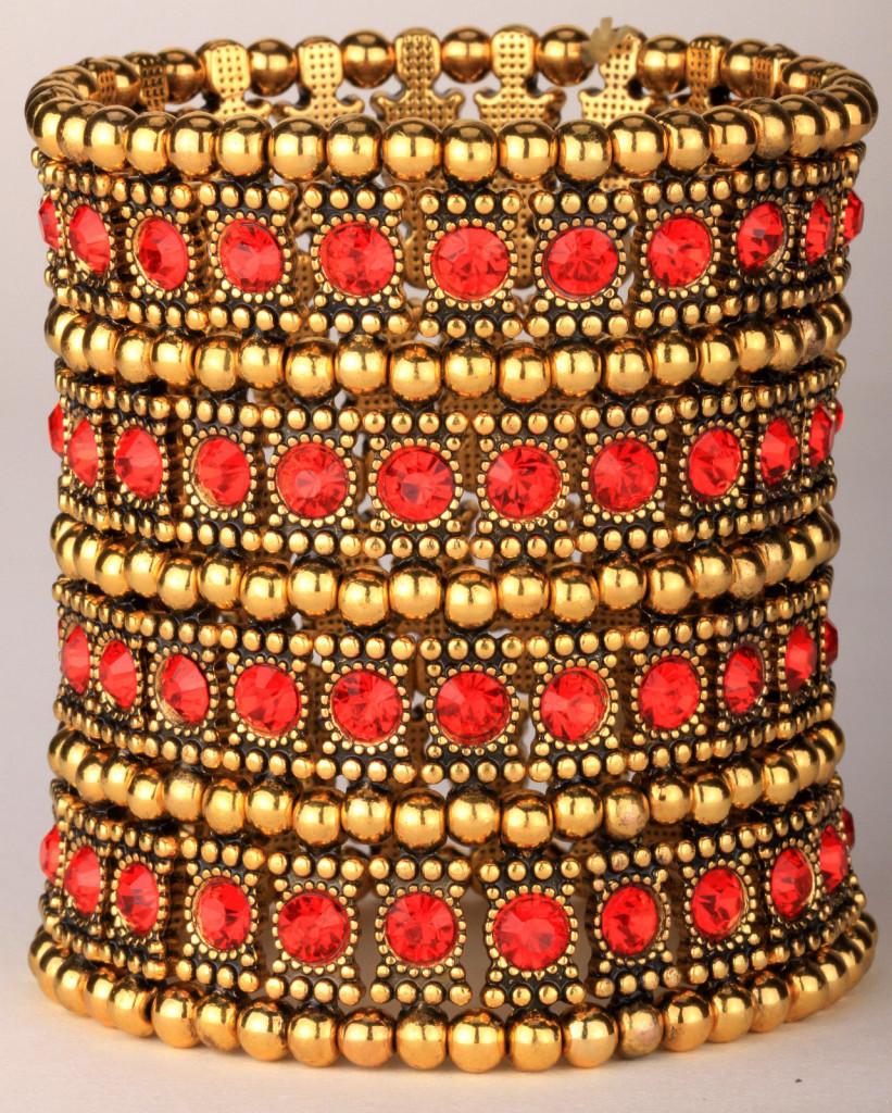 Gold blue crystal stretch wide cuff bracelet 4 row A1 JEWELRY