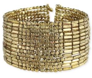 ZAD Gold Bar & Ball Bead Cuff Bracelet