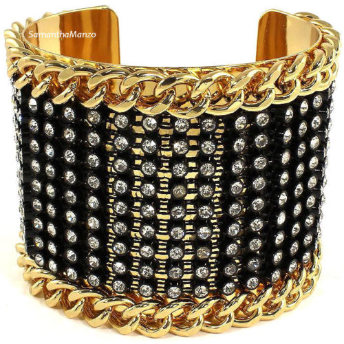 BLING Pave Crystal Cz Chain Link Bangle Cuff Bracelet Black Gold Plated