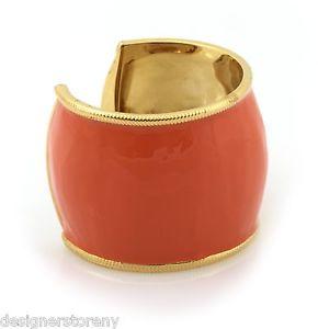 Belle Noel Kim Kardashian 14 kt y/g plated cuff bracelet orange enamel snake