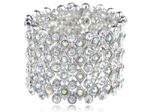 Chunky Aurora Borealis Crystal Rhinestone Shimmer Fashion Bracelet Bangle Cuff