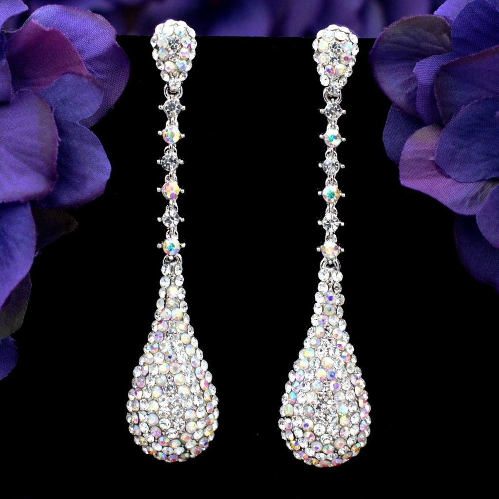 Rhodium Plated AB Clear Crystal Rhinestone Long Drop Chandelier Dangle Earrings