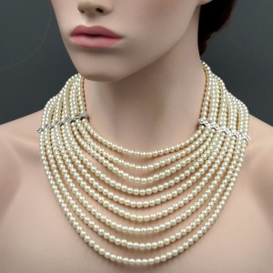 White Glass Pearl Multi Layered Strand Bead Chunky Necklace Crystal String