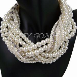 Multi Layer String Twist Faux Pearl Chunky Choker Bib Statement Necklaces