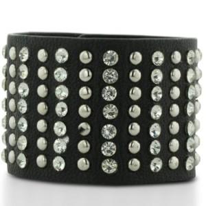 WIDE STUD BRN Black Leather Rhinestone and Stud Cuff Bracelet